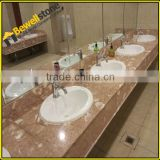 Flat polished yellow sea shell stone vanity tops for hotel bathroom, cream marble vanity tops with mulit porcelain sink