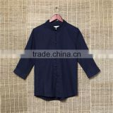 Dark blue casual clothes with hemp cotton material