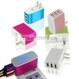 Wholesale 3 USB Port US/EU Plug 3.1A AC Power travel Home Wall Charger Adapter For Smartphone
