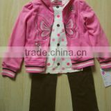 2015 Autumn Fashion Kids Clothing Shirt Pants 3 Pieces kids Girl Clothing Set