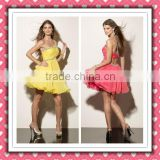2012 New Arrival Stylish Sexy One-shoulder Open Back Yellow Pink Chiffon Cocktail Dress Party Dress MLC-129