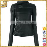 Black cotton shearing small leather motorcycle jacket