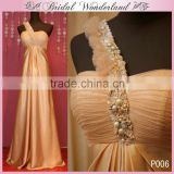 Real sample one shoulder a line bridesmaid dress