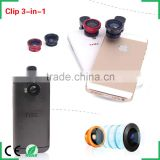 2016 hot smartphone accessories clip 3 in 1 lens kit 180 degree fisheye 0.67x wide-angle 10x macro camera lenses for iPhone 6s