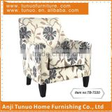 Accent chair with Linen flower fabric and Black color KD legs. moveable seat cushion.TB-7220