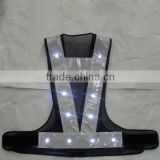 flashing black mesh safety vest with led lights