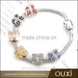 OUXI New design stainless steel multicolored crystal hand made jewelry accessories B40003