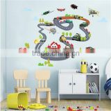 Hot Sale Cartoon Highway Track Car Wall Stickers Home Decoration Sticker for Kids Room Wall-paper Free Shipping 90*140cm XY1160