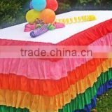 Polyester rainbow table skirts table cover