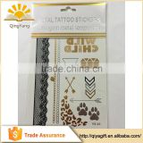 New Fashionable Gold and silver metallic custom body golden uae stickers temporary tattoo