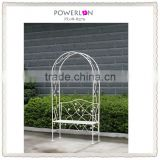 Western white garden arch with bench