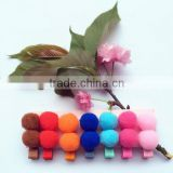 New products colorful no slip new design fabric barrette wool felt clip hair with two pompon for kids gifts hair accessories