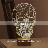 New Home Decor gift skull 3d led night on table ,light base crystal led glass 3d laser China supplier for home Decoration