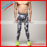 Custom printed mens sport fashion leggings, plus size