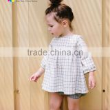 Summer latest tops designs new fashion kids puff sleeve lattice back neck blouse for girls clothing
