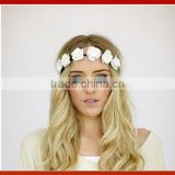 Creamy White Flower Rose Ribbon Half Crown Headband Princess Crown Headband Girls Crown Headband