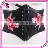 China factory wholesale embroidery rose waist cincher corset extra wide belt