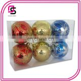 Plastic Christmas ball ,Christmas tree ball,Christmas hang-painted ball 6/S