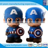 Wholesale cartoon plastic money box,Custome super hero plastic money saving box, promotional kids plastic money box piggy bank