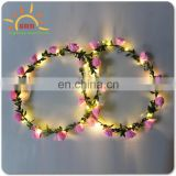 high quality led flower crown,colorful shinny led string lights flower headband