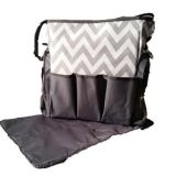 black diaper bag with chevron printed fabric