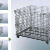 Warehouse foldable stackable metal storage wire container