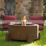 "30"" Round Cor-Ten Steel Glass Media/Lava Rock Firepit with Propane Gas Fire Ring"
