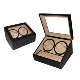 Classic Promotional 4+6  Automatic Dual Leather watch winder box with custom logo