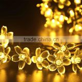 50 LED 7M Peach Blossom Shape Solar Powered String Fairy Lights for Indoor Outdoor Garden Christmas Wedding Party