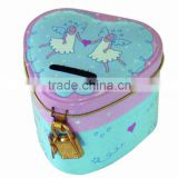 Heart shape tin box for money with lock