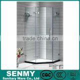 framless diamond shape 8mm clear glass hing open shower enclosure