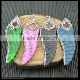 LFD-0030P ~ Wholesale Beautiful Mixed Color Snakeskin Wings Shape Pendants, With Paved Rhinestone Crystal Charm Necklace Pendan