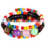 boho fashion mixed color plastic beads bracelet