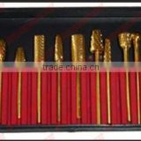 12pcs/set Golden Electric Nail File Drilling Bits -Ti-Plated -for Nail Art / Manicure / Polishing Machine - wholesale