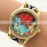Wholesale Latest Fashion Knitting Geneva Vogue Reloj Pulsera Mujer Ladies Fancy Watches Wrist