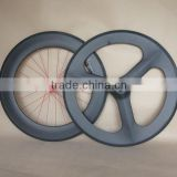 carbon tri spoke wheel 70mm front 88mm rear track hub clincher bicycle wheelset 700C
