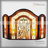 MX080006 tiffany style stainted glass fireplace screen stained glass room dividers screens