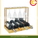 Natural Bamboo Wine Bottle and Glass Holder Kitchen Stemware