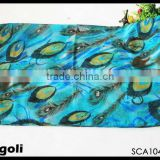 peacock tail printed blue evil eyes scarf