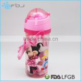 BPA FREE Cartoon Plastic Kids Water Bottle With Straw ~