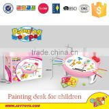 Hot sale plastic pink color learning & drawing table toy for children,drawing desk educational toy