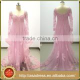 ASAM-14 Luxury Sequins Beaded Lace Appliques Ruffles Tulle long Sleeves Pink Evening Dresses                                                                         Quality Choice