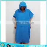 100% terry cotton blue color adult poncho towel for changing clothes adult beach towel poncho