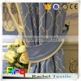 Embroidery curtain blue yellow color simple designs polyester cotton material - own factory made