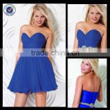 New Design Wholesale Custom Made Mini Elegant Sweetheart Royal Blue Chiffon With Belt Corset Cocktail Dress C0084