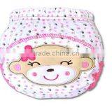 3 layer baby cloth nappy, cute monkey baby diaper, reusable baby nappy, cartoon embroidered training baby cloth nappy,