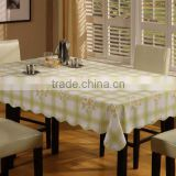 2015 Newest printed floral and checked design wedding tablecloth with lace/waved/straight edge