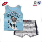 Comfortable Boys Clothes Set With Sleeveless Printed T Shirt And Stripe Shorts