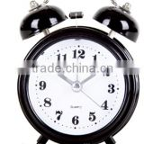 2015 new design mini size table alarm clock / plastic Twin-bell clock with sweep movement