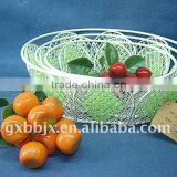 Egg shaped creamywhite moses decorative with green pearl storage fruit basket
